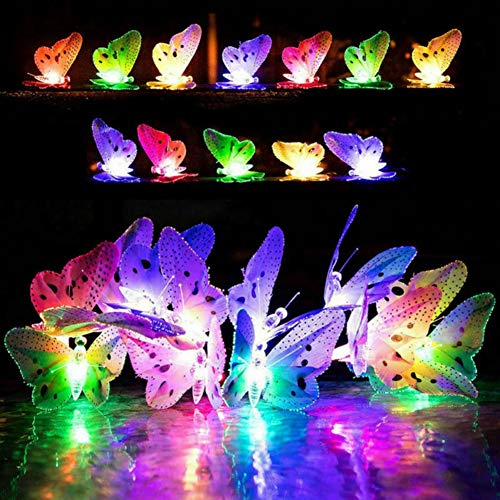 Facaily Outdoor Solar Power String Lights Fiber Optic Butterfly LED Decorative Fairy Lights Waterproof for Home, Patio, Garden, Tree Decor