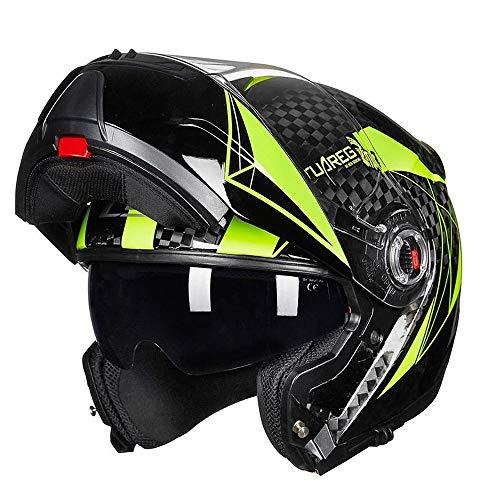 Full Face Motorbike Helmet, Electric Motorcycle Carbon Fiber Helmet Anti-Fog Double Lens Open Face Helmet Men and Women Flip-Up Helmets Half Helmet - DOT/ECE Certification