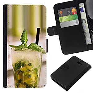 KLONGSHOP // Tirón de la caja Cartera de cuero con ranuras para tarjetas - Macro Fruit Mojito Menta - Sony Xperia M2 //