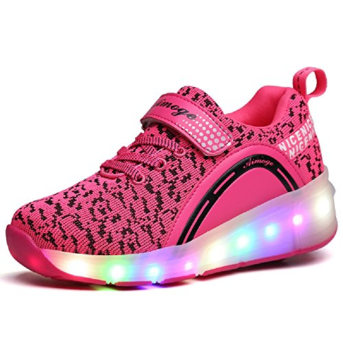 SDSPEED Kids Roller Skate Shoes with Single Wheel Shoes Sport Sneaker LED (11 M US Little Kid, LED Dapple Pink)