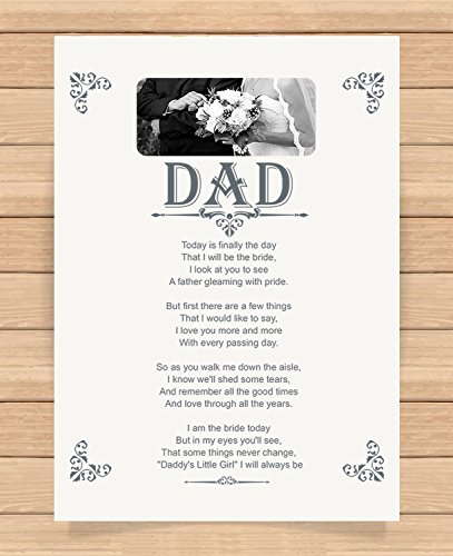 Presents Gifts for Daddy Dad Father from Bride Wedding Day Decorations Walk by My Side Heart Touching Poem Keepsake Prints Posters Wall Art Unusual Special Unique Idea