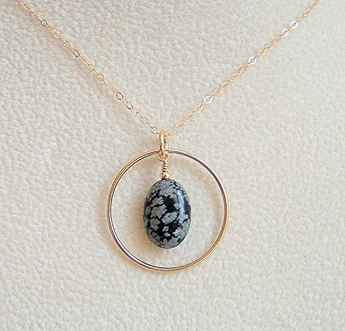 Grey Black Oval Snowflake Obsidian Frame Pendant Necklace 14K Gold Filled Chain 20 Inch