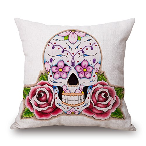 artistdecor skull cushion cases 18 x 18 inches / 45 by 45 cm gift or decor for divan,sofa,home,kids room,coffee house,bedding - twice sides PinnLi