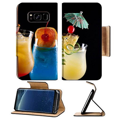 Liili Premium Samsung Galaxy S8 Plus Flip Pu Wallet Case Tequila Sunrise Blue Lagoon and Bahama Mama cocktails over black Photo 14535832 (Ultra Tequila Premium)