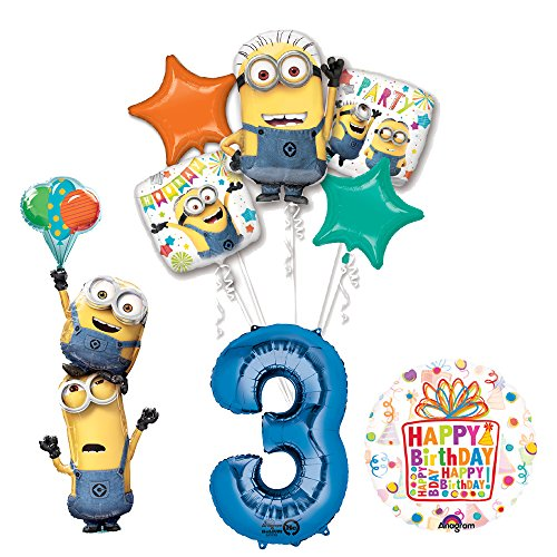 Despicable Me Birthday Party Supplies (Despicable Me 3 Minions Stacker 3rd Birthday Party Supplies and balloon Decorations)