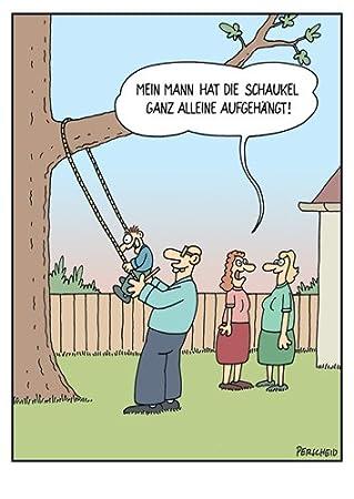 Postkarte A6 Cartoon Von Modern Times Schaukel Ganz Alleine