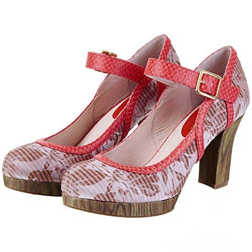Damen Heels High Cassandra Shoo Ruby Streifen Florale Schuhe 5qxYZnwn0A