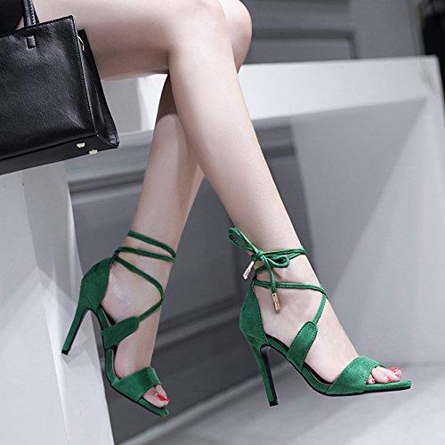 Chaussures à De Green à Sandales Femmes Party Cheville Robe La Open Soirée Talons Toe Sandales Hauts Suede Dames Party Bride Cz11wTaq