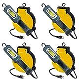 Case of 4 Professional 5 Watt COB LED Retractable Reel Auto Repair Shop Work Light 450 Lumen Output
