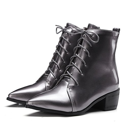 AdeeSu Business Mule Patent Girls Leather Up metallic Boots Lace OFrqOwUa