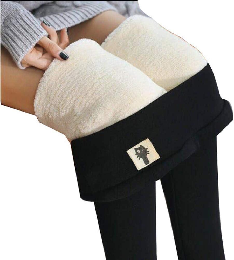 HPZHANG High Waist Winter Warm Leggings Thicken Skinny Fleece Lined High Waist Large Size Women Leggings Thick Tights Winter Warm Women Velvet Elastic Leggings Pants