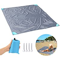 Fypo Beach Mat Mini Pocket Set, Outdoor Cool Sun Bath Blanket Soft Portable Organic for Travel Picnic Camping Floor Grass, Compact Lightweight Large Size 5.6 x 4.6 ft, Water/Wind Resistant