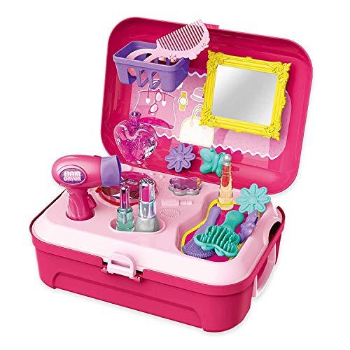 ARHA IINTERNATIONAL Plastic Pretend Play Beauty Salon Makeup Kit and Cosmetic Toy Set with Hair Dryer, Mirror & Hair…
