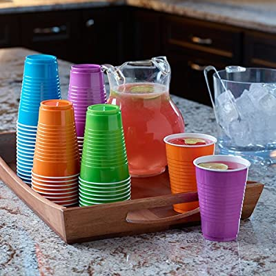 Hefty Disposable Plastic Cups in Assorted Colors - 16 Oz, 100Count