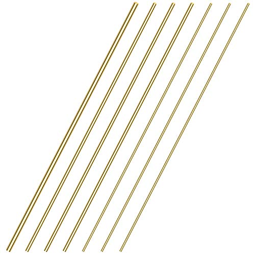 Sutemribor Brass Solid Round Rod Lathe Bar Stock, Diameter 1/8 inch+3/16 inch+1/4 inch, Length 14 inch, Total 7 PCS