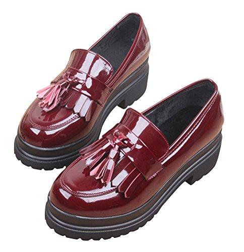 Oxford Skor Kvinnor Mid Häl, Plattforms Damer Skoluniform Dress Shoe Arbets Använda Anti-sladd Djupröd