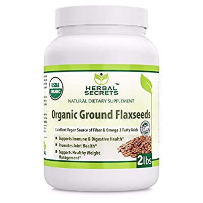 Herbal Secrets Organic Ground Flaxseed 2 Lbs Excellent Vegan Source of Fiber & Omega - Fatty Acids USDA Certified Organic- Promotes joint health supports healthy weight management