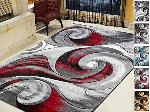 (Handcraft Rugs-Swirls Abstract Design Modern Contemporary Hand Carved Area Rug-Silver/Lava Red/Gray/Black)