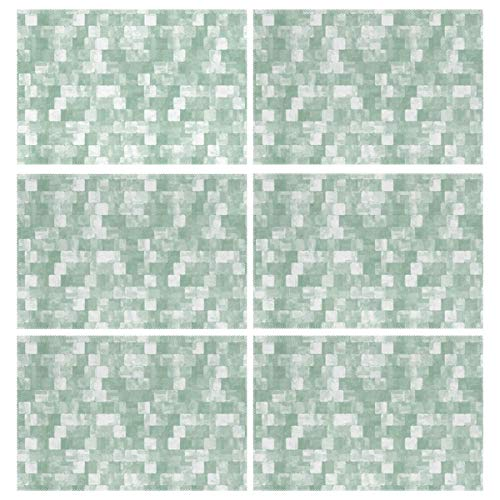 Cocoa trade Heat Resistant Placemats for Kitchen Table Mats Dining Room,Cool Mint Green Tileable Grunge Patterns Washable Insulation Non Slip Placemat 12x18 inch(6 -