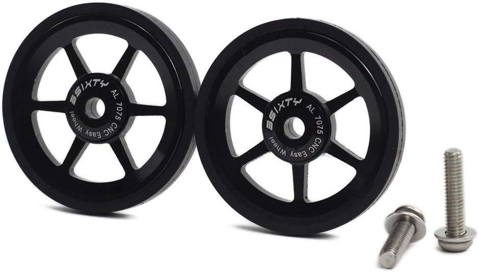 SM SunniMix 2X 6cm Folding Bike Easy Wheel Easy Wheel with Fastening Screw for Brompton