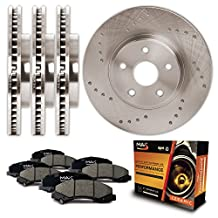 Front + Rear Premium Cross Drilled Rotors and Ceramic Pads Brake Kit KT014123 | Fits: 2005 05 Chevy Silverado 2500HD w/ Rear 4.84 Dia Center Hole & 330.4mm DiaX90mm Overall Height Rotor