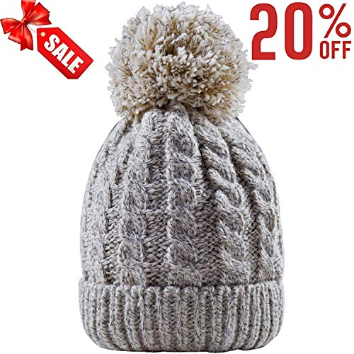 9330099522a Women s Winter Beanie Warm Fleece Lining - Thick Slouchy Cable Knit Skull  Hat Ski Cap (Cream)