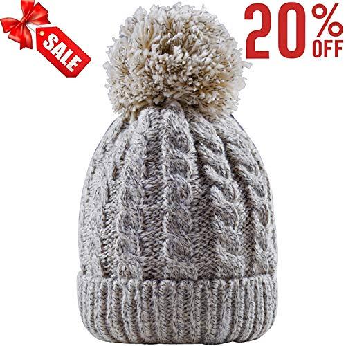 0833fbebc0b Women s Winter Beanie Warm Fleece Lining - Thick Slouchy Cable Knit Skull  Hat Ski Cap (Cream)