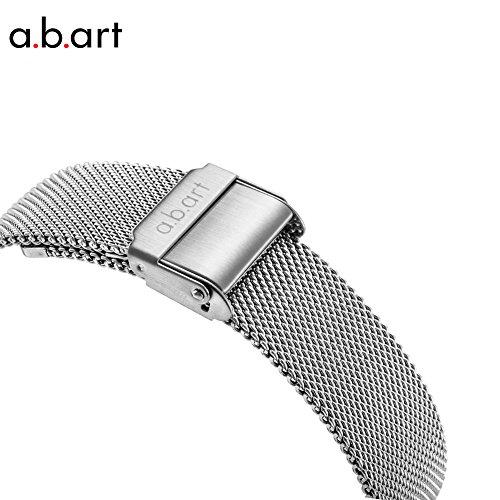 a.b.art FD36-101-6S Women's Fashion Wrist Watch Date Display Watch Silver tone (Mesh bracelet steel-Steel) by a.b.art (Image #3)