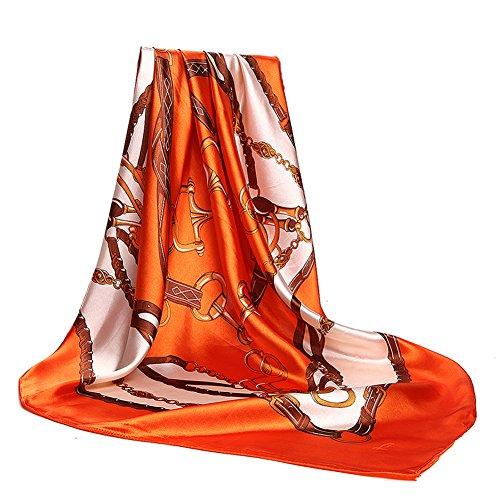 Women's Silk Scarf Belt Pattern Large Square Satin Headscarf Headdress 35