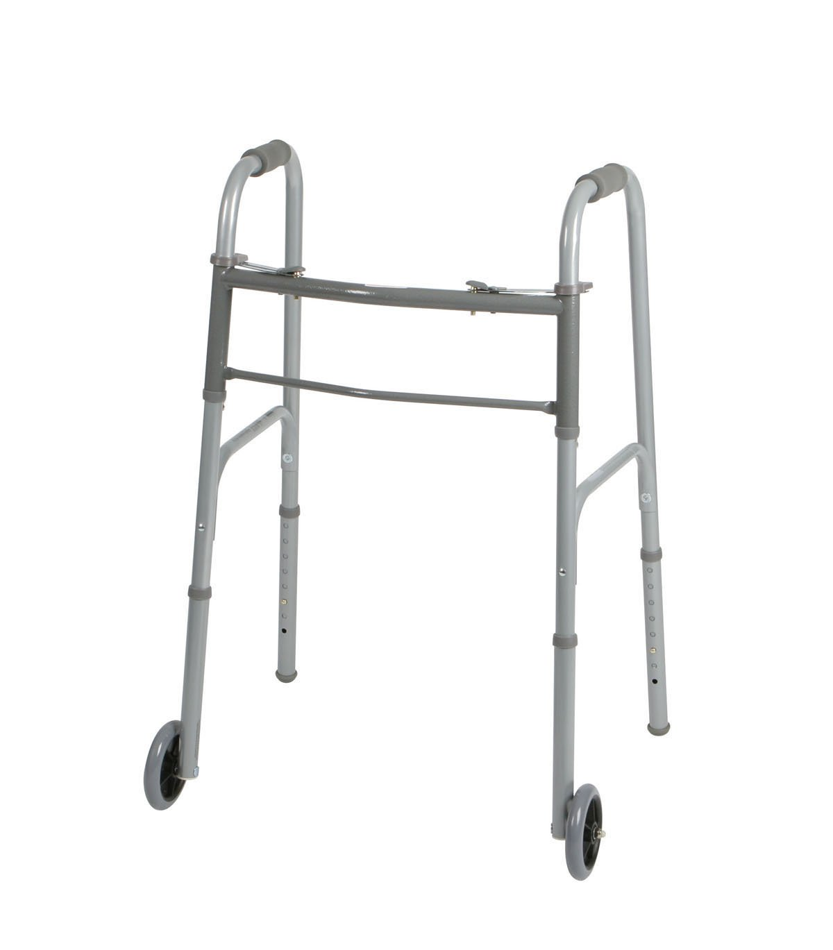 Medline Two-Button Folding Walker with Wheels, 5 inch