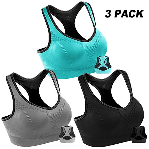 3 Pack Women Racerback Sports Bras High Impact Workout Yoga Gym Activewear Fitness Bra (Black&Grey&Blue, M(Fit for 34A 36A 34B 36B 34C 30D 32D))
