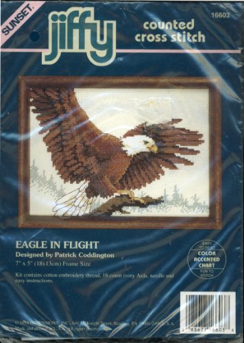 Sunset Jiffy Counted Cross Stitch Kit - Eagle in Flight Designed By Patrick Coddington - 7 By 5 Inch Frame Size - - Jiffy Stitch Cross
