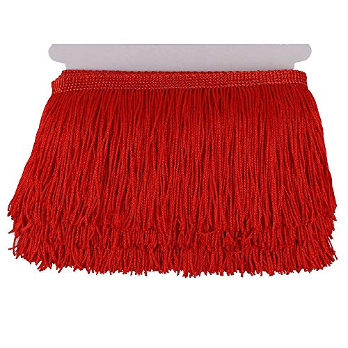 Heartwish268 Fringe Trim Lace Polyerter Fibre Tassel 4inch(″) Wide 10 Yards Long for Clothes Accessories and Latin Wedding Dress and DIY Lamp Shade Decoration Black (red)