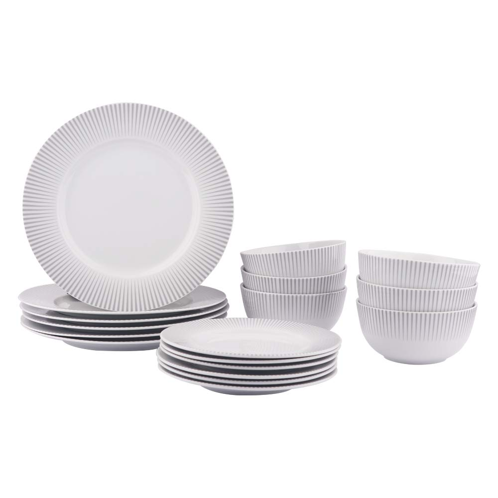 AmazonBasics 18-Piece Kitchen Dinnerware Set, Dishes, Bowls, Service for 6, Spotlight