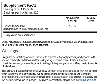 Vitacost Synergy Olive Leaf Extract – Standardized — 500 Milligram – 120 Capsules
