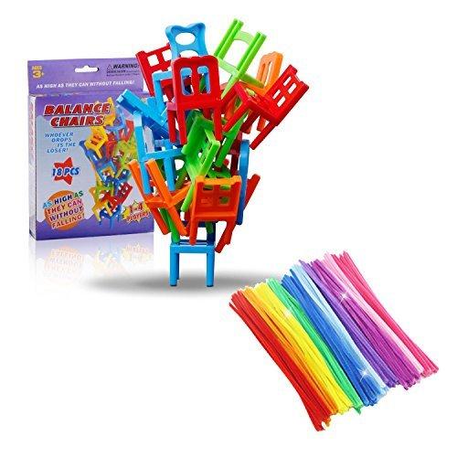 Stackingバランスゲーム、椅子スタッキングタワーバランシングゲーム、面白いスタックボードゲーム、家族のボードゲーム子供、18椅子おもちゃと10パズルツイストSticks Set。