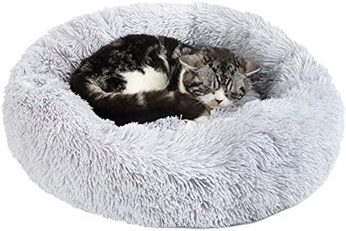 Cama Redonda para Mascotas Medianas y Pequeñas – Antiestrés, Suave, Lavable, Cálida de Felpa  (M-50/L-60cm. Gris claro)