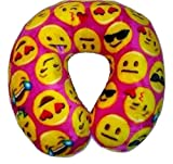 Emoji Faces Round Velvet Memory Foam U Shaped Travel Pillow Neck Support Head Rest Cushion Kids Plush Soft Toy Toddlers Teens Emojies Expressions Pink