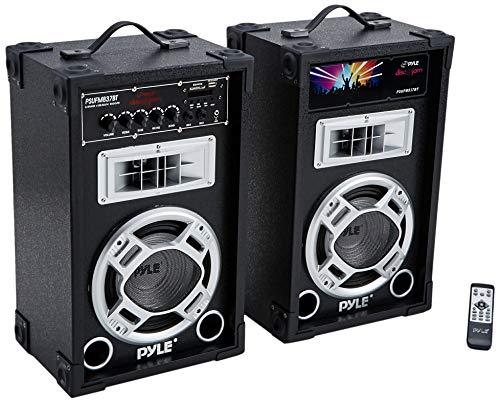 - 800 Watt Powered Bluetooth Speaker - PA Dual System Disco Jam, Two-Way DJ Speakers karaoke machine , USB/SD Card Readers, FM Radio, 3.5 mm AUX Input Active & Passive Speakers - Pyle PSUFM837BT (Renewed)