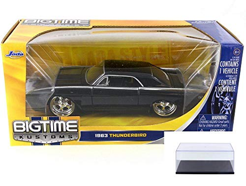 Black Thunderbird Model - Diecast Car & Display Case Package - 1963 Ford Thunderbird, Jet Black - JADA 90361 - 1/24 Scale Diecast Model Toy Car w/Display Case