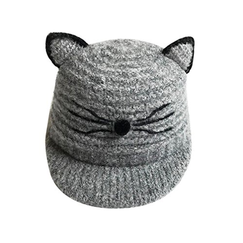 Baby Cat Costume Pattern (Honhui Baby Beanie Cap Kids Boy Girl Cute Cat Knitted Crochet Winter Warm Hat (Gray))