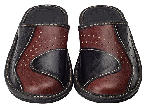 aveego - Zapatillas de estar por casa de Otra Piel para hombre marrón y negro