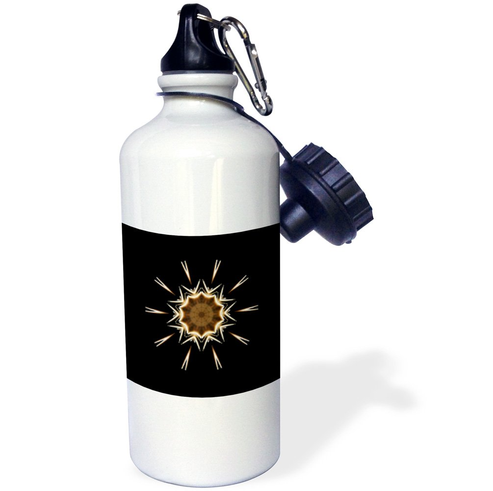 3dRose wb/_42051/_1Fancy Star with special flakes on black background Sports Water Bottle White 21 oz