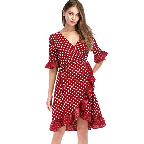 Guesspower Robe Femme Ete Chic Sexy Elgant Vintage  Manches Courtes Moiti Bandage Impression Mini-Robe 3 Couleur, S-XL(36-42) Rouge