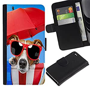 Billetera de Cuero Caso Titular de la tarjeta Carcasa Funda para Apple Iphone 4 / 4S / Cute Funny Beach Dog Sunglasses / STRONG