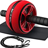 LAFENI Ab Roller, Home Abdominal Exercise Equipment Core Workout Machine Wider Ab Roller Wheel With Resistant Band (Life-time Warranty)