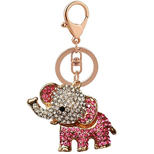 Bolbove Cute Big Ears Elephant Keychain Sparkling Keyring Crystal Purse Pendant Rhinestones Handbag Charm (Rose Red) (Diamonds Bracelet Sparkling)