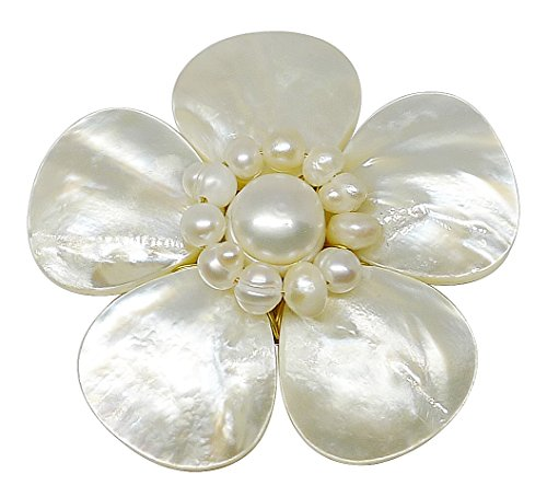 [Bijoux De Ja Mother of Pearl and White Pollen Shell Pearl Flower Brooch Pin] (Butterfly Wings Costume Tutorial)