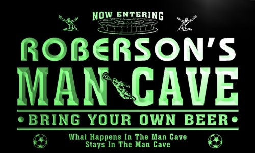 qd1474-g ROBERSON's Man Cave Soccer Football Neon Beer Sign by AdvPro Name
