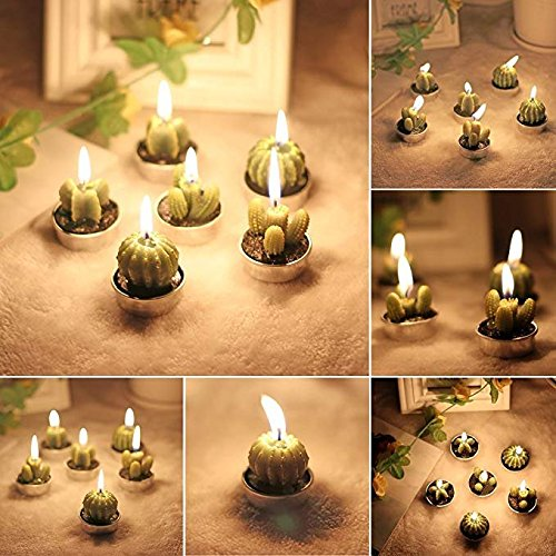 UUsave 12 Pcs Cactus Tealight Candles Decor Handmade Delicate Succulent Cactus Candles for Valentine's day Birthday Party Wedding Spa Living Room Home Decoration (12) by UUsave (Image #5)